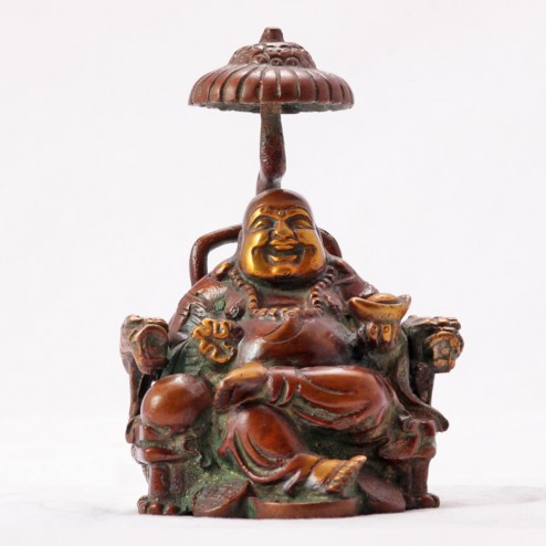 Laughing Buddha Sitting On Chair With Umbrella